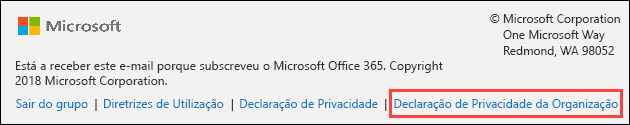 Rodapé de mensagem de boas-vindas do Office 365 groups Guest