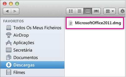 Imagem do ficheiro .dmg no qual fez duplo clique para abrir o instalador do Office.