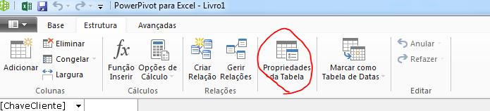 Friso na janela do PowerPivot a mostrar o comando Propriedades da Tabela