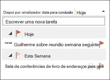 Pode alterar a sequência de ordenação das suas tarefas na barra de acções a fazer.