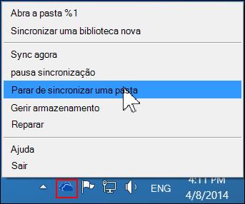 Comando parar de sincronizar uma pasta no menu do OneDrive para Empresas