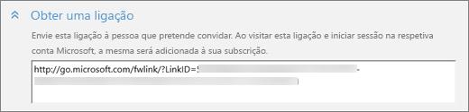 """Captura de ecrã a mostrar um grande plano da secção """"Obter uma ligação"""" da caixa de diálogo """"Adicionar alguém""""."""