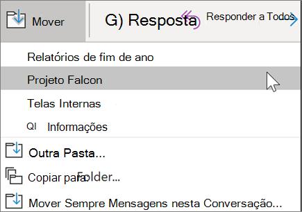 Mover uma mensagem para uma pasta no Outlook