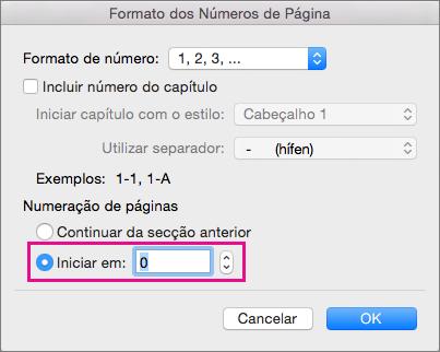 Para definir o número de página inicial, selecione Começar em e, em seguida, introduza um número.