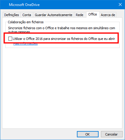 Separador Carregamento do Office nas definições do OneDrive