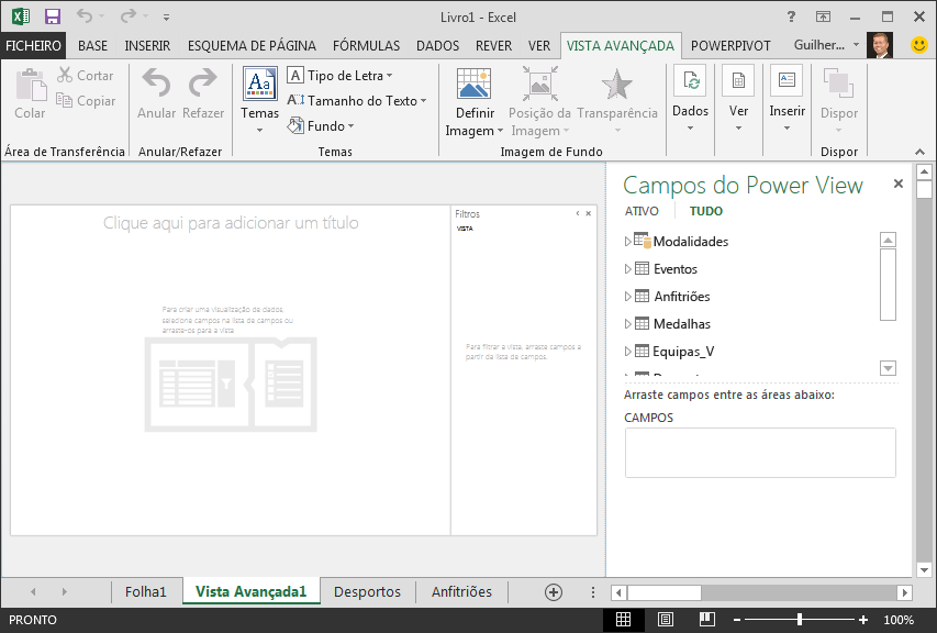 um relatório do Power View em branco no Excel