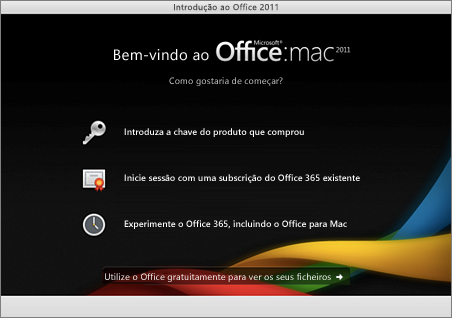 Captura de ecrã a mostrar a página de boas-vindas do Office para Mac 2011