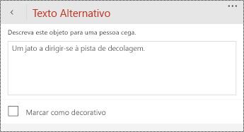 Caixa de diálogo texto alternativo para imagens no PowerPoint para telemóveis Windows.
