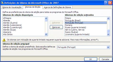 Definições de idioma no Office 2007