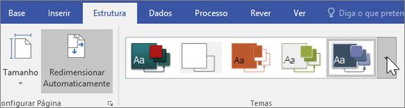 Captura de ecrã a mostrar as opções da barra de ferramentas Estrutura > Temas
