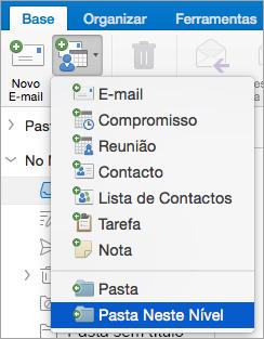 Mostra o selecionar a pasta este nível a partir da lista de novos itens.