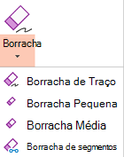 O PowerPoint para Office 2019 tem quatro borrachas de tinta digital.