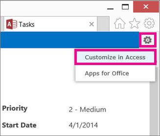 Comando Personalizar no Access no menu de engrenagem Definições
