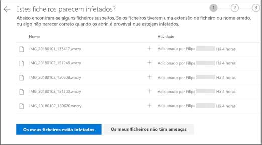 Captura de ecrã a mostrar o ecrã fazer estes ficheiros no site do OneDrive
