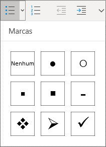 Botão de lista com marcas selecionado no friso do menu Base no OneNote para Windows 10.