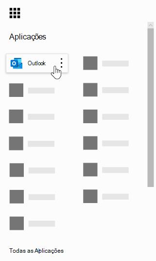 O iniciador de aplicações do Office 365 com a aplicação Outlook realçada