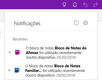 Painel Notificações a mostrar dois blocos de notas que foram abertos noutro dispositivo.