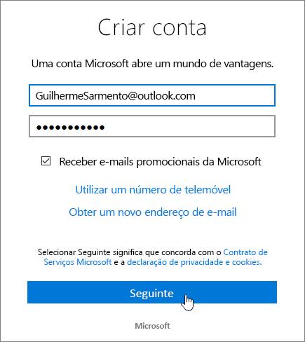 Uma captura de ecrã a mostrar a caixa de diálogo Criar uma Conta Microsoft.