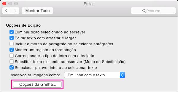 Clique em Opções da Grelha para definir opções de ajustar para objetos na vista do Esquema de Impressão.