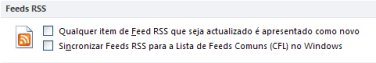 Caixa de verificação Sincronizar Feeds RSS para a Lista de Feeds Comuns (CFL) no Windows
