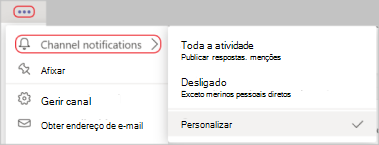Screenshot das definições de notificação de canal no menu mais opções. Uma linha vermelha circula mais opções ícone e notificações do Canal