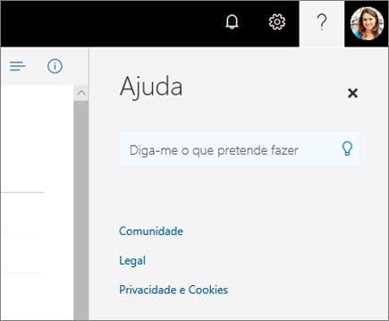 Captura de ecrã do painel Ajuda do OneDrive.