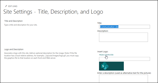 Alterar o logótipo de um site de equipa ou de comunicação