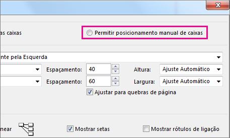 """Clique em """"Permitir o posicionamento manual de caixas"""" para reposicionar manualmente uma tarefa."""
