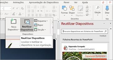 Botão reutilizar diapositivos e painel abrir no PowerPoint