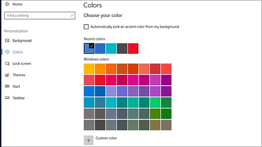 Definições de personalização de cores de destaque
