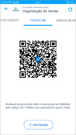 Captura de tela a mostrar a página de código QR no Kaizala