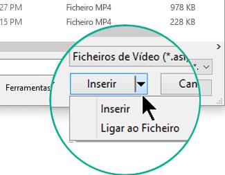 """Na caixa de diálogo Inserir Vídeo, selecione Inserir (o que significa """"Incorporar"""") ou Ligar ao Ficheiro."""