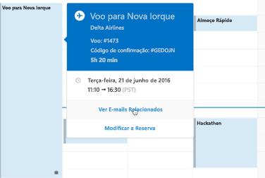 A mostrar o cartão de viagens no Calendário do Outlook