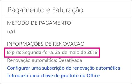 Pagamento e Faturação do OneDrive