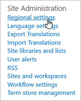 Definições regionais de site em Administração de site