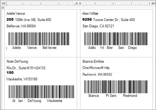 Captura de algumas etiquetas com o endereço e o código de barras
