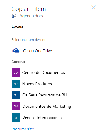 Captura de ecrã da seleção de um destino ao copiar ficheiros do OneDrive para Empresas para um site do SharePoint.