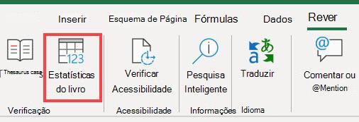 O comando de Estatísticas do Livro na fita Excel