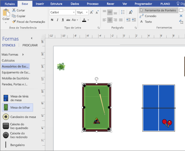 Arraste uma forma de agrupamento de tabela para a página