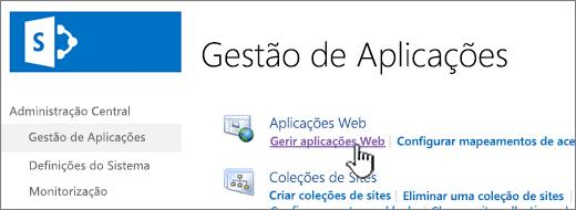 Abrir as definições da aplicação web