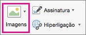 A opção de Imagens está realçada no separador Mensagens.