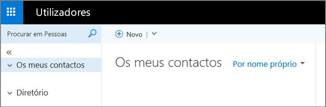 Uma imagem do aspeto da página Pessoas no Outlook Web App