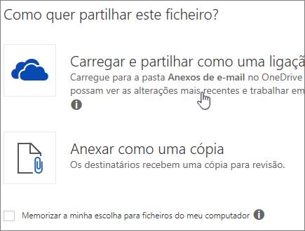 Captura de ecrã da caixa de diálogo de Anexo, a mostrar a opção Carregar e Anexar como uma opção de ficheiros do OneDrive.
