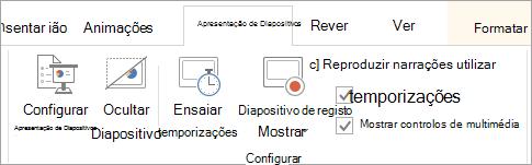 Desmarque a caixa de verificação narrações reproduzir no separador apresentação de diapositivos