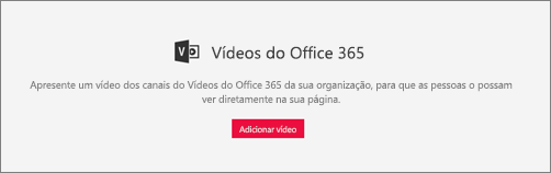 Peça web do Office 365 vídeo