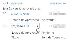 Botão de caixa de diálogo de lista pendente de versão