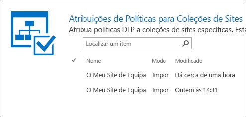Atribuições de políticas para coleções de sites