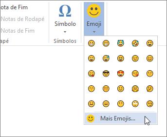Clique em mais emojis no botão emojis no separador inserir para selecionar a partir de todos os emojis disponíveis.