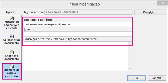 Mostra a caixa de diálogo com a opção inserir uma ligação num e-mail selecionada