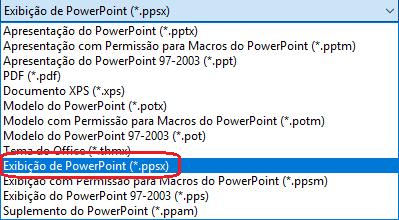 """A lista dos tipos de ficheiro no PowerPoint inclui """"Exibição de PowerPoint (.ppsx)"""""""